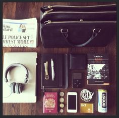 the headphones, stamps...