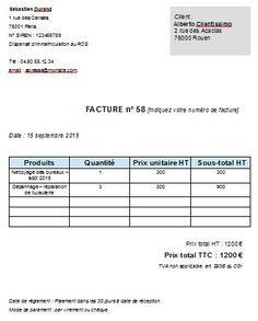 Exemple de facture autoentrepreneur gratuit