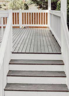 Dark Deck, White Deck, White Porch, Deck Stain Colors, Deck Colors, Modern Deck, Front Deck, Cool Deck, House Deck
