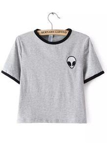 Kurzarm Crop T-Shirt Rundhals mit Alien Druck -grau