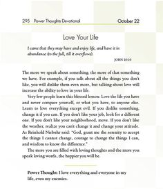 A sample of Joyce Meyer's Power Thoughts Devotional. October 22.