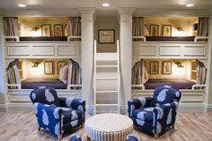 BUILT IN BUNK BEDS, bay of 4, and sitting area