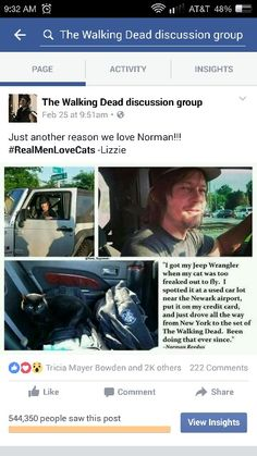 The Walking Dead page i admin for on Facebook had a post go viral. Everyone loves daryl dixon aka norman reedus and his cat eye in the dark!!! Go give the page a like too!