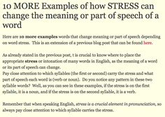 Examples of stress changing meaning of word. Intro.