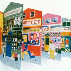 Design For Today Up My Street by Louise Lockhart: Up My Street, a concertina book for all ages, is illustrated by Louise Lockhart. It is a celebration of those wonderful High Street shops that are about to disappear. Laundrettes, Children's outfitters, The Hardware Store, all slowly vanishing. The concertina book is a remarkable 139cms long, and 23.5cms in height and features a High Street of 10 different panels of shops, ice-cream van and Telephone Box. It is printed using 'old-fashioned'…