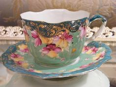 ❥ beautiful antique floral tea cup