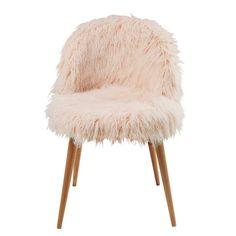 Chaise en fausse fourrure rose et bouleau massif Mauricette | Maisons du Monde