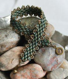 Classy Peyote Superduo Bracelet; Bead Weaving; Peyote Stitch; Turquoise Superduo Bracelet; Seed Bead Bracelet; Superduo Jewelry
