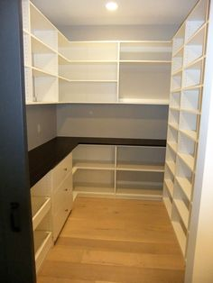 Walk-in pantry with drawers & slide out trays on left, shelving and counter top