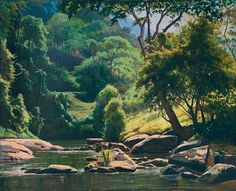 Paisagem com rio. Óleo sobre tela. Edgar Walter (Nova Lima, Minas Gerais, Brasil, 20/11/1917 - 14/05/1994, Petrópolis, Rio de Janeiro, Brasil).