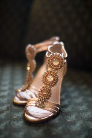Gorgeous beaded wedding shoes in bronze tones