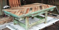 Pallet Wood Coffee Table with a base made from a wooden futon I found on the…