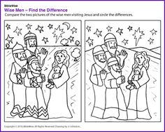 Find the Difference (Wise Men Puzzle)- Kids Korner - BibleWise Jesus Crafts, Bible Story Crafts, Man Crafts, Christmas Sunday School Lessons, Sunday School Crafts, Church Activities, Bible Activities, Catholic Kids, Kids Church