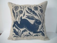 Leaping hare screen printed linen cushion by lupindesignscouk, £35.00