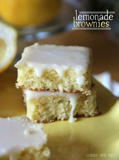 Lemonade brownies! A cross between a lemon bar and a brownie - yum!