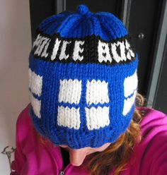 Tardis hat. Knit with bulky weight or two strands of worsted.  Free pattern on Ravelry.