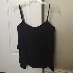 BCBG Black Ruffle Blouse Size S In brand new condition. Work less than 5 times. Ready to be worn! Classic! BCBGMaxAzria Tops Blouses