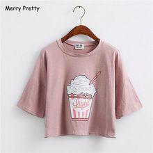 Feliz Pretty 2017 del verano nuevas mujeres Harajuku camiseta helado estilo coreano de algodón sueltos blusas kawaii camiseta de las mujeres tee tops(China (Mainland))