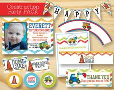 Construction Invitation Customized Party Pack Dump by RVparties, $40.00