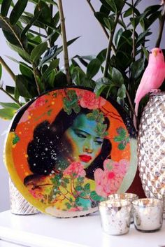 Tropical Porthole Tile Art - Tretchikoff Lady