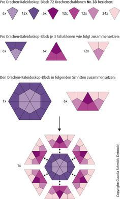 English Paper Piecing Anleitung Drachen-Kaleidoskop Tutorial Kite Kaleidoscope HEXAGON KITES HKITE PAPERPIECES.COM