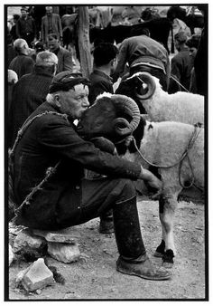 Constantine Manos, 'Shepherd at Market', Crete, Greece, 'A Greek Portfolio' Vintage Photography, Street Photography, Animal Photography, Greece Photography, People Photography, Wildlife Photography, Magnum Photos, Old Photos, Vintage Photos