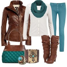"""""""Teal & Brown"""" by heather-rolin on Polyvore"""