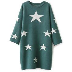 Stars Jacquard Sweater Dress ($41) ❤ liked on Polyvore featuring dresses, star print dress, starry dress, star dress, green sweater dress and sweater dresses