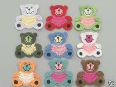 9 Large Crochet Teddy Bear Appliques 9 Colors Quantity: 9 Color: 1 each of the 9 colors shown Great for sewing, craft, clothing, bag, Scrap...