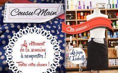 """Le vêtement de la semaine """" la jupe droite """". C'est celle d'isabelle qui a remporté le vote du jury, deux professionnel de la couture, la styliste Amparo Lellouche et le Tailleur pour homme Julien Scavani  #cousumain #diy #handmade #concours #showtv. BOARD: https://fr.pinterest.com/bettinael/happy-diy/"""