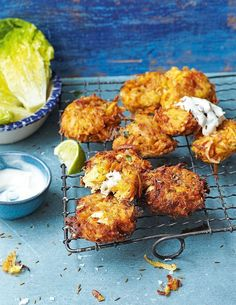 Carrot, sweet potato and feta fritters delicious magazine is part of pizza - Enjoy this versatile vegetarian fritter recipe as a snack or for lunch, or serve with a green salad, yogurt and lime wedges as a light dinner Veggie Dishes, Veggie Recipes, Cooking Recipes, Potato Recipes, Easy Recipes, Side Dishes, Dinner Recipes, Cooking Tips, Chicken Recipes