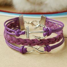 Ordering this ASAP! Too cute!! Anchor bracelet - purple infinity bracelet with anchor charm, jewelry for Christmas. $7.99, via Etsy.com