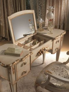 Mirrored Dressing Table Mirror Stool Set, Gold, Antique Venetian Style Mirrored Makeup Storage is a Stylish Way to Unclutter The Vanity Table or Bathroom - Decor Around The World Diy Makeup Organizer, Makeup Storage Organization, Organization Ideas, Storage Ideas, Bathroom Organization, Bathroom Storage, Storage Solutions, Small Bathroom, Master Bathroom