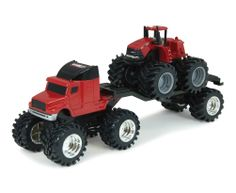 5 Inch Monster Treads CaseIH Red Truck with 4WD Steiger/Trailer