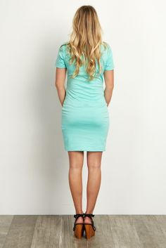 Mint Green Short Sleeve Fitted Maternity Dress