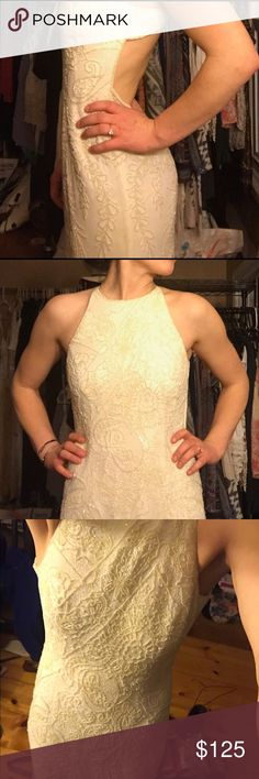 Vintage embellished beaded boho wedding maxi dress Beautiful white beaded fitted maxi dress. Open back, lays flat against body but does not pull. Perfect for prom or boho wedding. Floor length, well made, silk lined. No tags fits me perfect but a little snug in chest I am a 32C bra and 25w x 33l jeans. Dresses