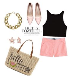 """""""Casual Summer Day"""" by tae381 ❤ liked on Polyvore featuring J.Crew, Kenneth Jay Lane, Straw Studios and summerlooks"""