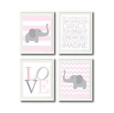 Baby Girl Nursery Elephant Art Print Set-Four 11x14-Stripes-LOVE-Typography-Playroom Rule Quotes-Kids Room Decor-Wall Art-Pink-White-Grey via Etsy
