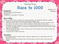Teaching Maths with Meaning Math Game Monday - Odds/Evens and Numbers to 1000!
