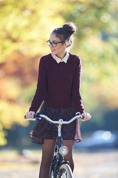 Try the collard shirt sweater look sometime... Pair comfort warmth on top with flowy skirt and tights