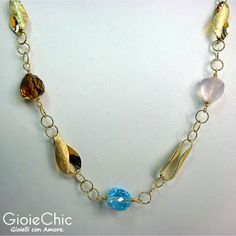 18Kt yellow gold with topaz, pink quartz and citrine quartz necklace.  Size: 45cm  Made in Italy  www.gioiechic.com