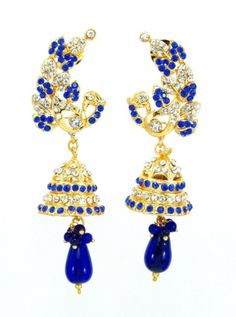 Checkout our #awesome product Imitation Designer Peacock Design Stone Jhumka Earring / AZINJE122-GBL - Imitation Designer Peacock Design Stone Jhumka Earring / AZINJE122-GBL - Price: $45.00. Buy now at http://www.arrascreations.com/imitation-designer-peacock-design-stone-jhumka-earring-azinje122-gbl.html