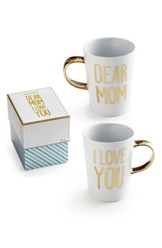 Such a sweet Mother's Day gift! Mom will love these sentimental ceramic mugs with gold letters. Great present for the mom who loves her morning coffee or breakfast in bed! Best Mothers Day Gifts, Valentine Day Gifts, Gifts For Mom, Great Gifts, Creative Gifts, Porcelain Mugs, Ceramic Mugs, Coffee Set, Coffee Mugs