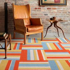 """Flor (carpet tile) - Style: Seeing Stripes, Colour: Tangerine, $22/square; ea square is 20""""x20"""" works well with Heaven Sent in Light Blue"""