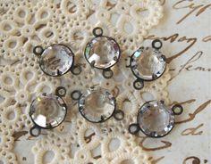 8mm Crystal Rhinestone 2Loop Connectors in by TeapotsandTelephones, $4.25