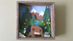 Wild Grizzly Bear 3D paper art in Wooden box wall by WingsOfWood