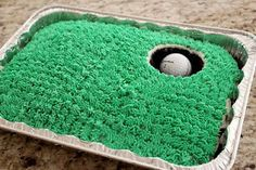 hole in one golf cake for father's day. would definitely do coconut for grass with chocolate cake. Cake Cookies, Cookies Et Biscuits, Cupcake Cakes, Dessert Dips, Just Desserts, Delicious Desserts, Golf Birthday Cakes, Sports Birthday, Golf Cakes