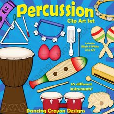 Musical Instruments: Classroom Percussion Instruments Clip Art from Dancing_Crayon_Designs on TeachersNotebook.com -  (40 pages)  - Classroom percussion instrument clip art - perfect for your music-themed projects and products.