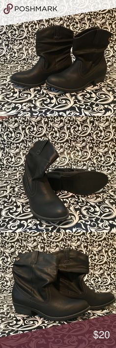 "Arizona calf height black cowgirl boots, size 6.5 Arizona calf height black cowgirl boots, size 6.5. NWOT.  All man made materials, not leather. 1-1/2"" heel. 8-1/2"" upper. Arizona Jean Company Shoes Heeled Boots"