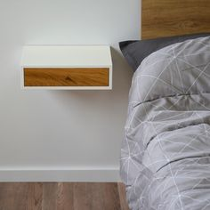 Floating bedside table with oak drawer Hygge, Bedside, Floating Nightstand, Space Saving, Bedroom Furniture, Solid Wood, Drawers, Nightstands, Scandinavian
